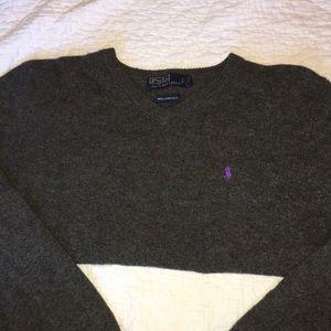 5/$25 Polo-gray 100% lambs wool sweater